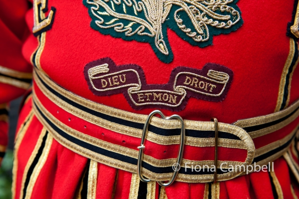 State dress detail. 'Dieu et mon droit'.  This is the motto of the British Monarch in England meaning literally 'God and my right'.