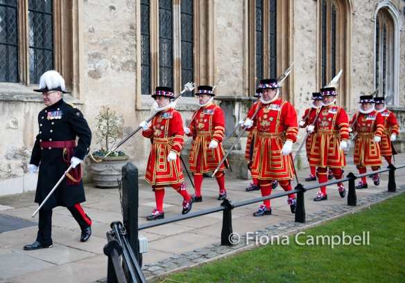 The Governor leads the Yeoman Warders to the Chapel Royal for the State Parade.