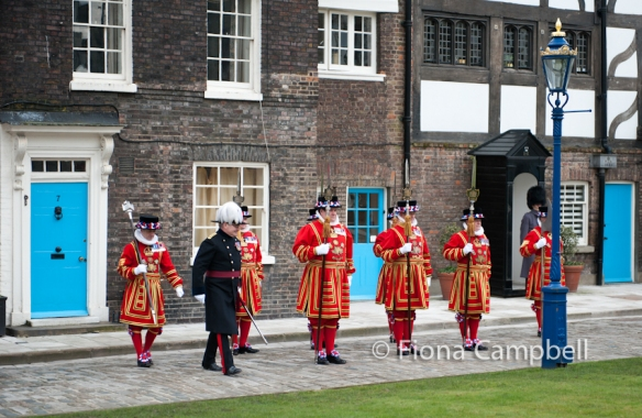 Governor Colonel Richard Harrold OBE inspects the Yeoman Warders before the State Parade to the Royal Chapel