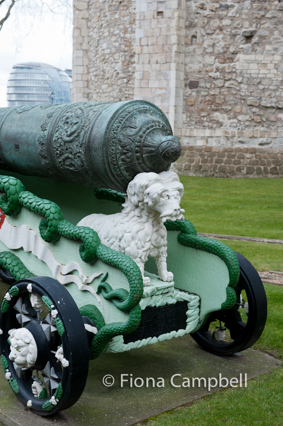 Cast iron 12 pounder gun, probably Flemish, dated 1607.  Carriage, British 1827.