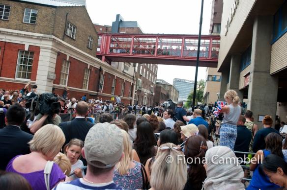 crowds gathered outside the Lindo Wing minutes before the appearance of The Duke and Duchess of Cambridge and Prince George