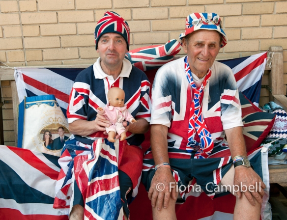 Ardent royal supporters John Loughrie and Terry Hutt in good spirits on Friday 19th July